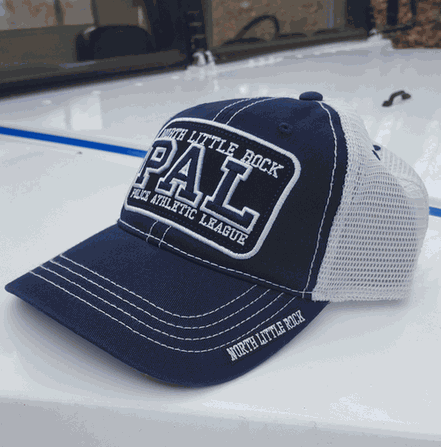 Image of a blue and pink PAL hat.